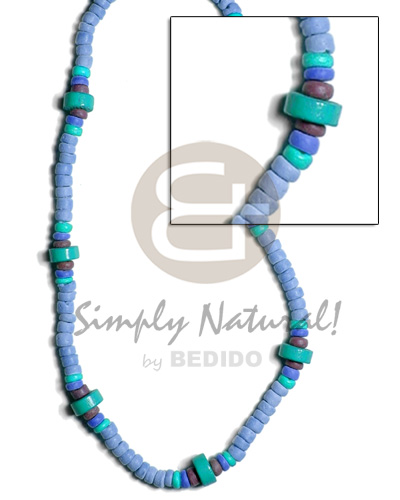 Fashion 4-5mm coco pokalet. in blue unisex necklace