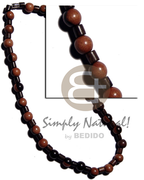 Native round bayong wood beads unisex necklace