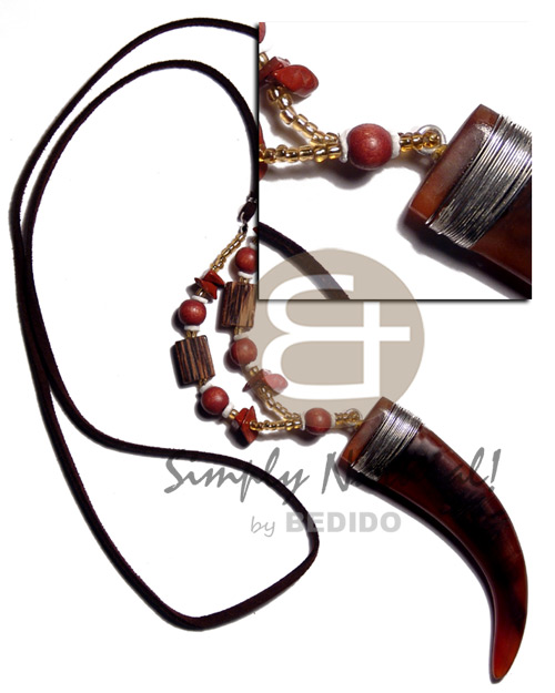 Teens 90mmx23mm carabao amber horn tusk unisex necklace
