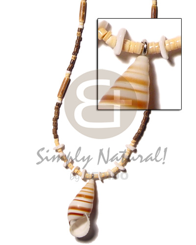 Ethnic 2-3 coco heishe brown unisex necklace