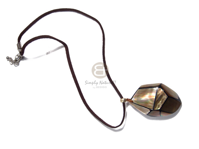 Teens 50mmx35mm laminated and embossed brownlip unisex necklace