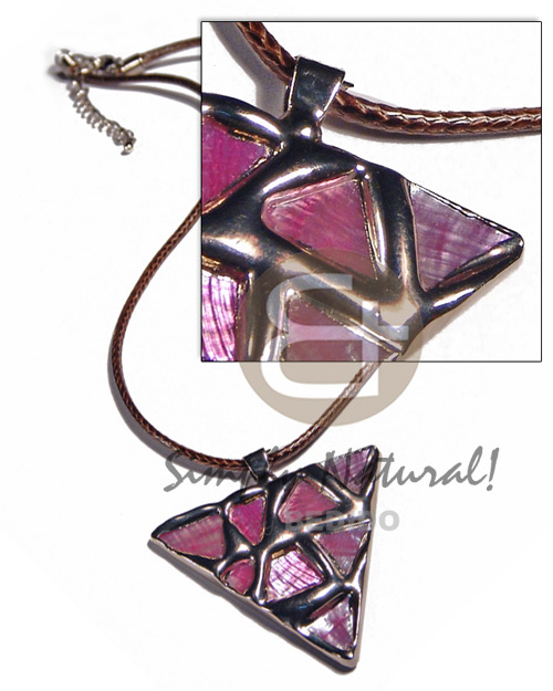 Philippines triangle 50mm glistening pink abalone unisex necklace