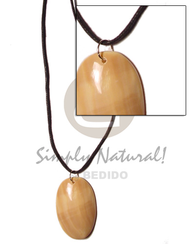 Philippines cord polished 40mm oval unisex necklace