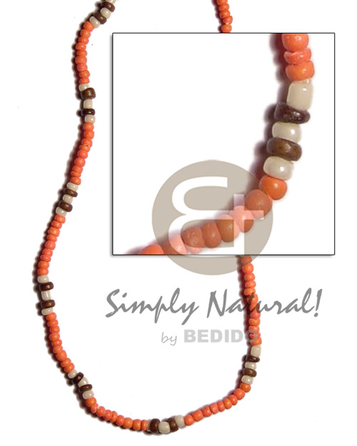 Handmade 2-3mm orange nat brown combination coco unisex necklace
