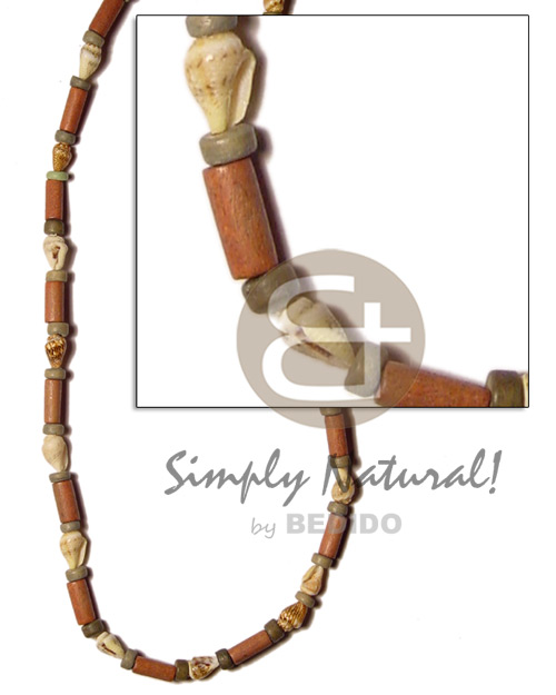 Native bayong wood tube nassa unisex necklace