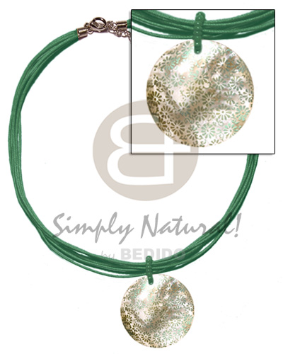 Ethnic 6 layer green wax cord womens necklace