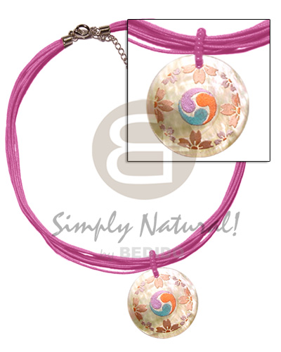 Philippines 6 layer pink wax cord womens necklace