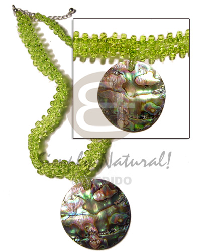 Teens lime green glass beads flat womens necklace