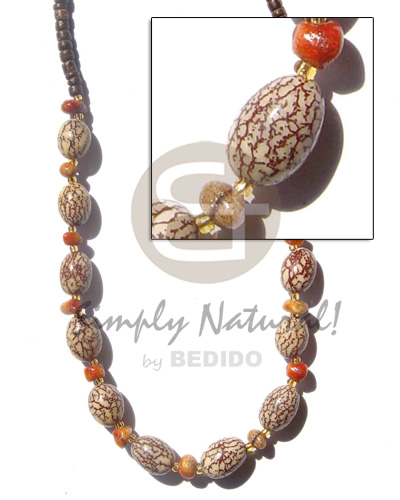 Wholesale oval salwag corals brown womens necklace