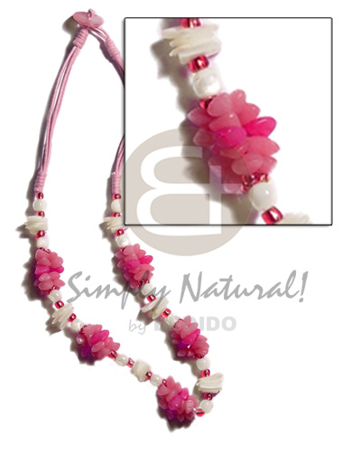 Philippines pink 3 layer wax cord womens necklace