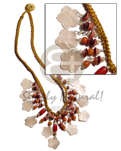 Fashion golden macrame dangling 15mm womens necklace