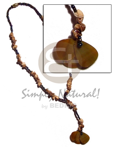Ethnic dangling 3 overlapping 25mm brownlip womens necklace