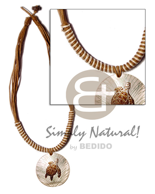 Native 8 layers wax cord womens necklace