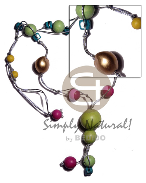 Native kukui colored wood beads womens necklace