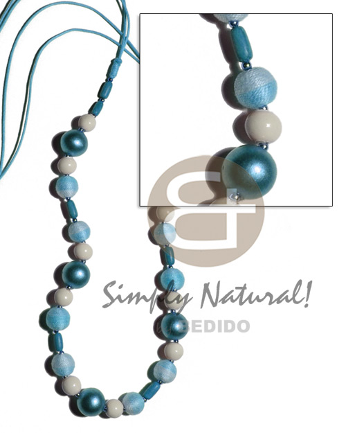 Natural 12mm wrapped wood beads w womens necklace