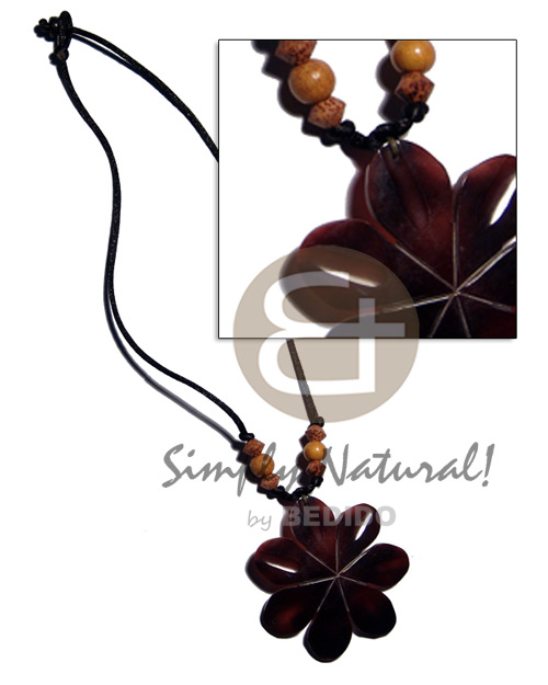 Philippine 60mm flower black tab shell womens necklace