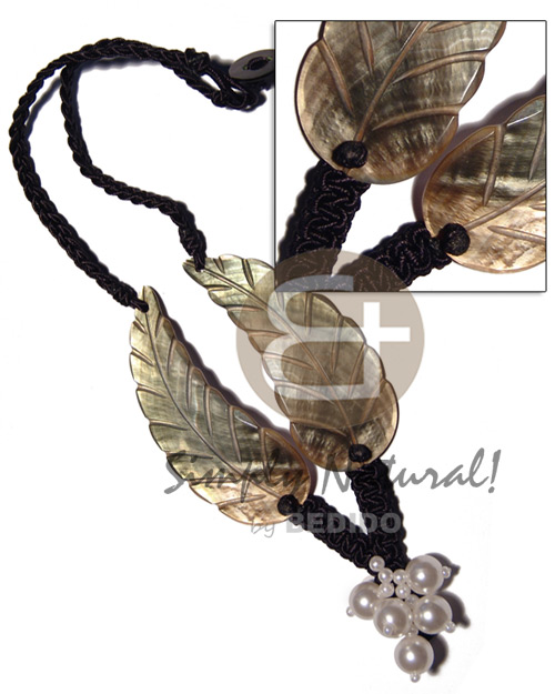 Native black macrame 2pcs. 75mmx28mm womens necklace