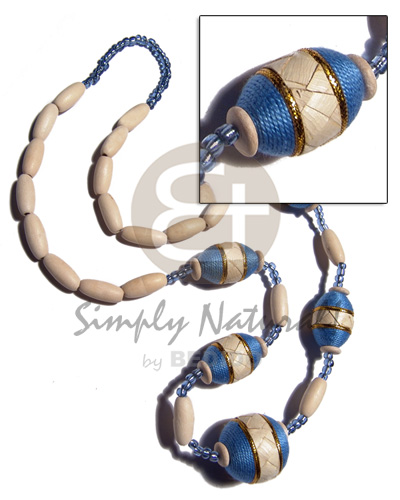Native natural white wood capsules womens necklace