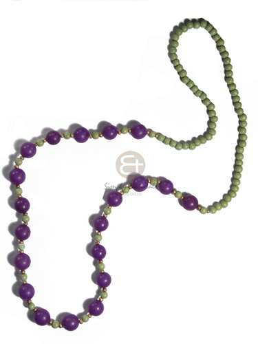 Ladies 6mm wood round beads womens necklace