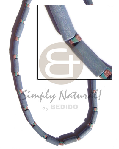 Natural pastel blue wood tube womens necklace