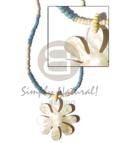Wholesale 2-3mm coco pokalet pastel yelloblue bleached womens necklace