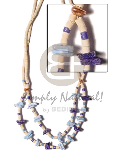Cebu 2 rows coco heishe bleach womens necklace