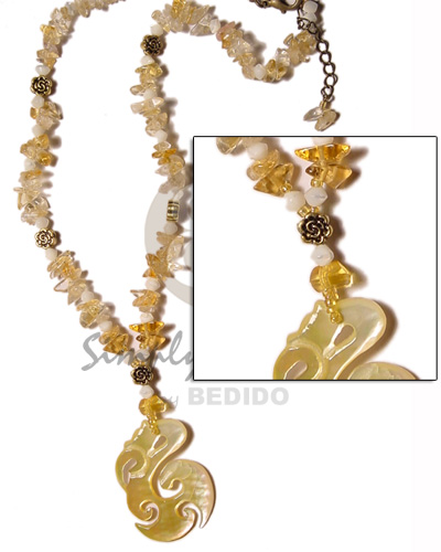 Ladies clear stone crystals in yellow womens necklace