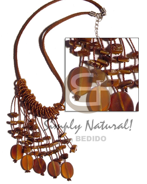 Wholesale dangling oval horn amber on womens necklace