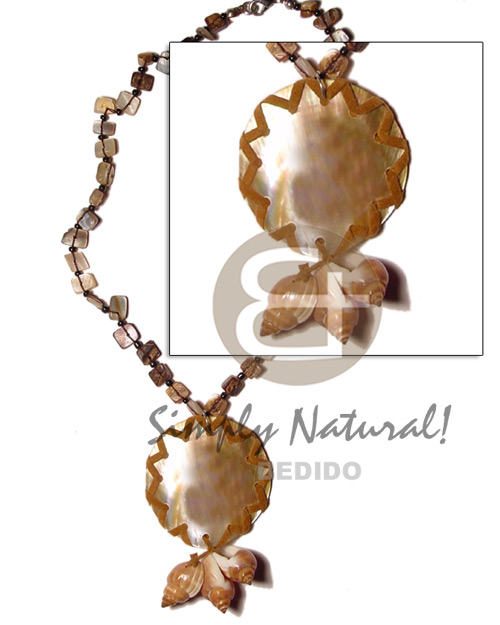 Philippine floating sq. cut hammershell womens necklace