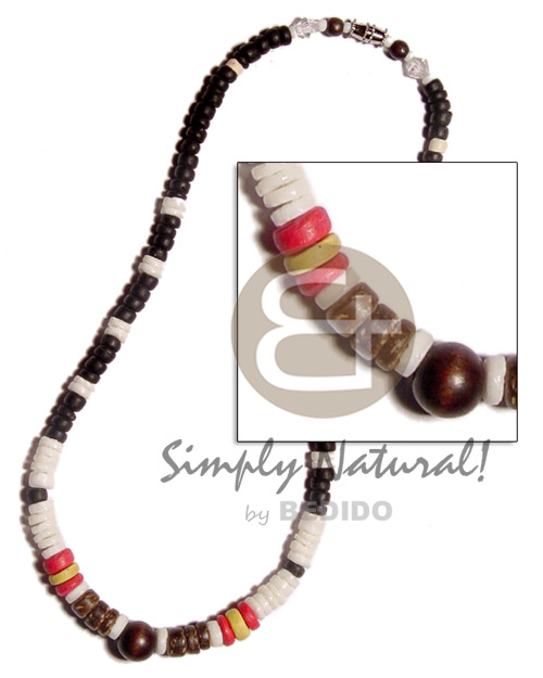 Teens white clam heishe black red womens necklace