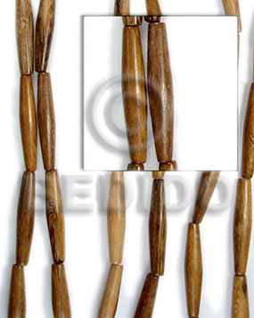 Natural robles football stick 6x25 wood beads