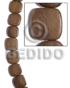 Ladies 25mmx25mmx5mm robles square rounded wood beads