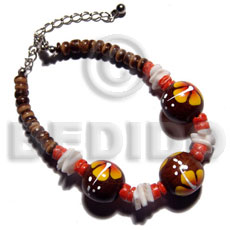Philippines 4-5mm coco pokalet. natural brown wood bracelets