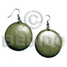 Native dangling round 32mm natural wood wood earrings