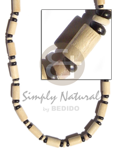 Wholesale natural white wood tube wood necklace