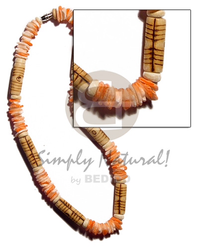 Native white rose orange splashing wood necklace