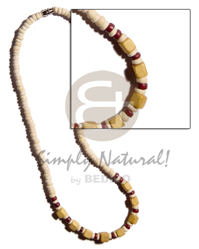 Wholesale 4-5mm coco pokalet. bleach wood necklace