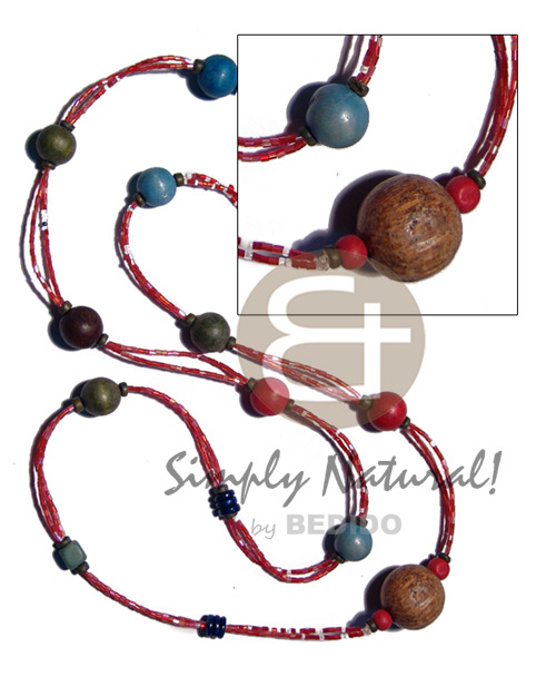 Wholesale 2 rows red cut glass wood necklace