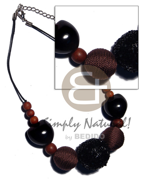 Cebu 20mm 25mm round wrapped wood beads wood necklace