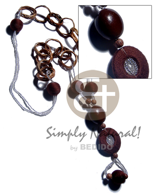 Wholesale basket rings kukui nuts 15mm wood necklace