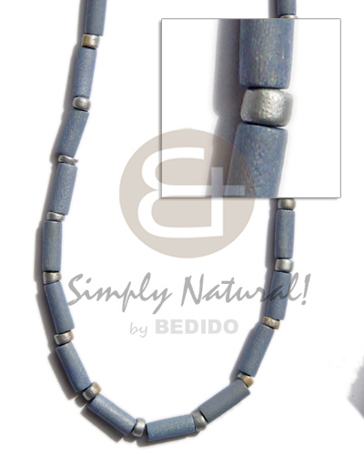 Native pastel blue wood tube wood necklace
