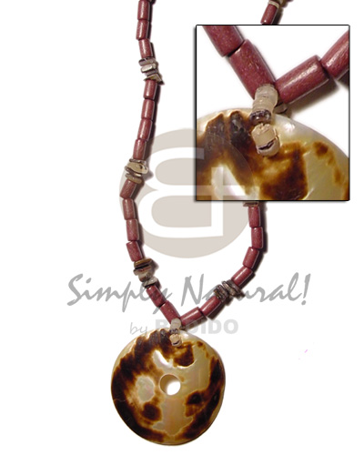 Wholesale dyed wood tube hammershell natural wood necklace