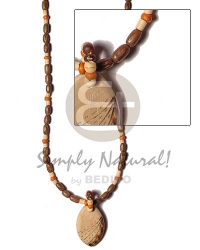 Native oval wood pendant burning wood wood necklace