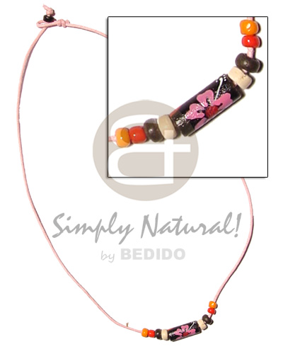 Philippine pink cord painted tube wood necklace