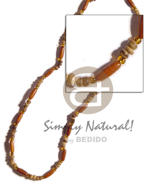 Ethnic bayong ricebeads 2-3 coco wood necklace