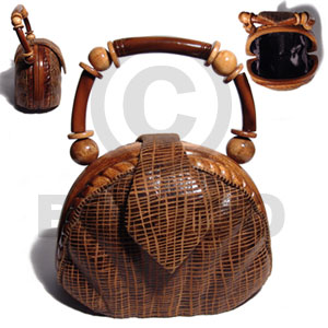 Philippine collectible handcarved laminated acacia wooden acacia bags