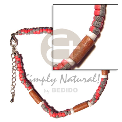 Philippine red 4-5mm coco pokalet. splashing wooden anklets