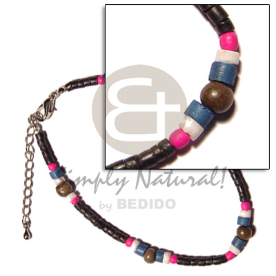 Philippines 2-3mm coco pokalet. black wooden anklets