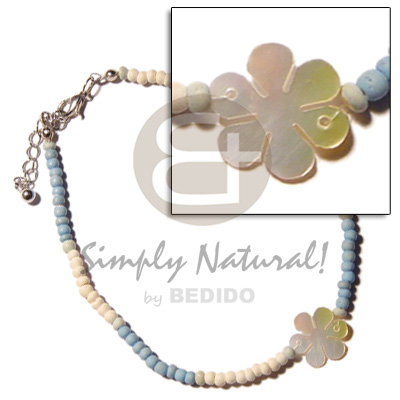 Ladies pastel blue bleach 2-3mm coco pokalet. wooden anklets