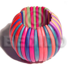 Fashion elastic multicolored natural white wood wooden bangles